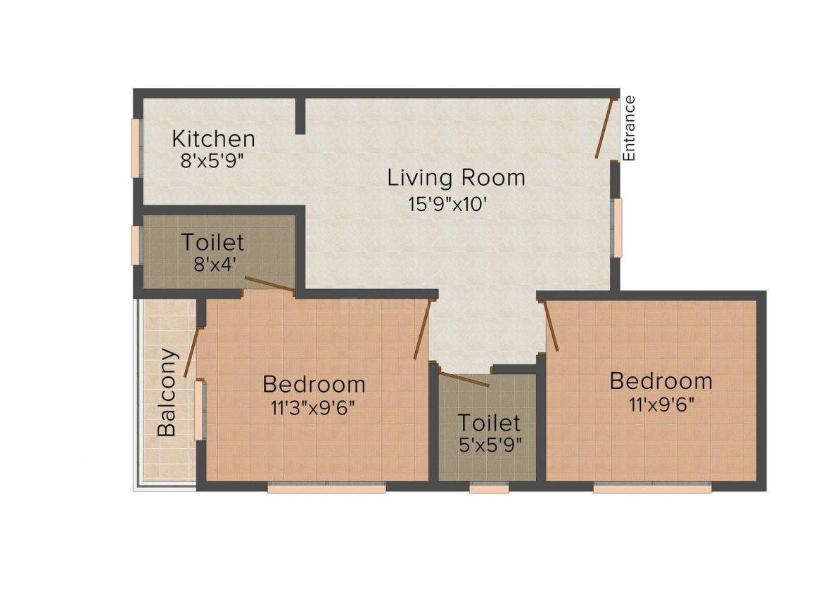 Floor Plan Image of 0 - 650 Sq.ft 2 BHK Independent Floor for buy in Ambey Rani Floors-1