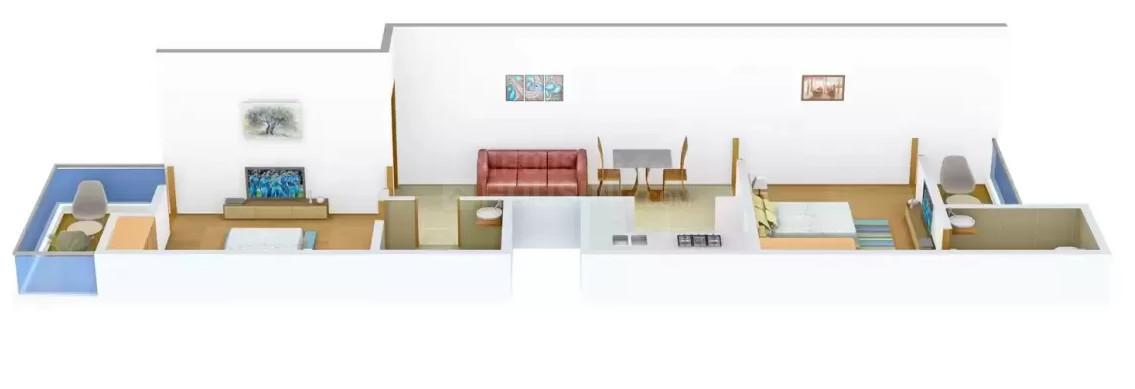 YK Aggarwal Properties Homes3 Floor Plan: 2 BHK Unit with Built up area of 750 sq.ft 1