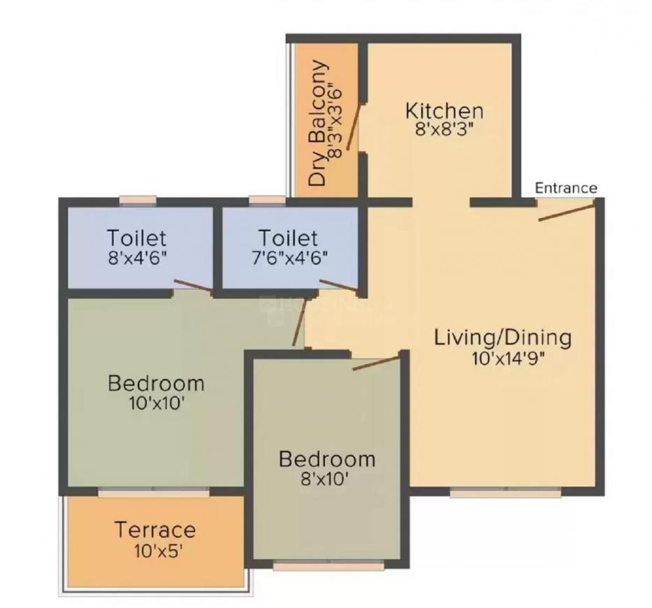 Anandtara Whitefield Residences Phase I Floor Plan: 2 BHK Unit with Built up area of 450 sq.ft 1