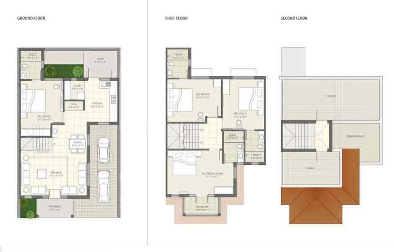 Shrinivas Super City Phase 2 Honour Floor Plan: 3 BHK Unit with Built up area of 2043 sq.ft 1