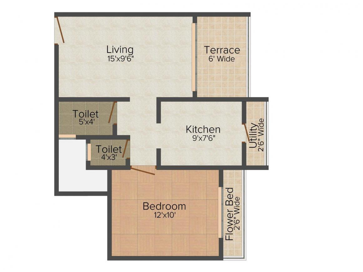 Floor Plan Image of 492.0 - 635.0 Sq.ft 1 BHK Apartment for buy in Amrut Heaven