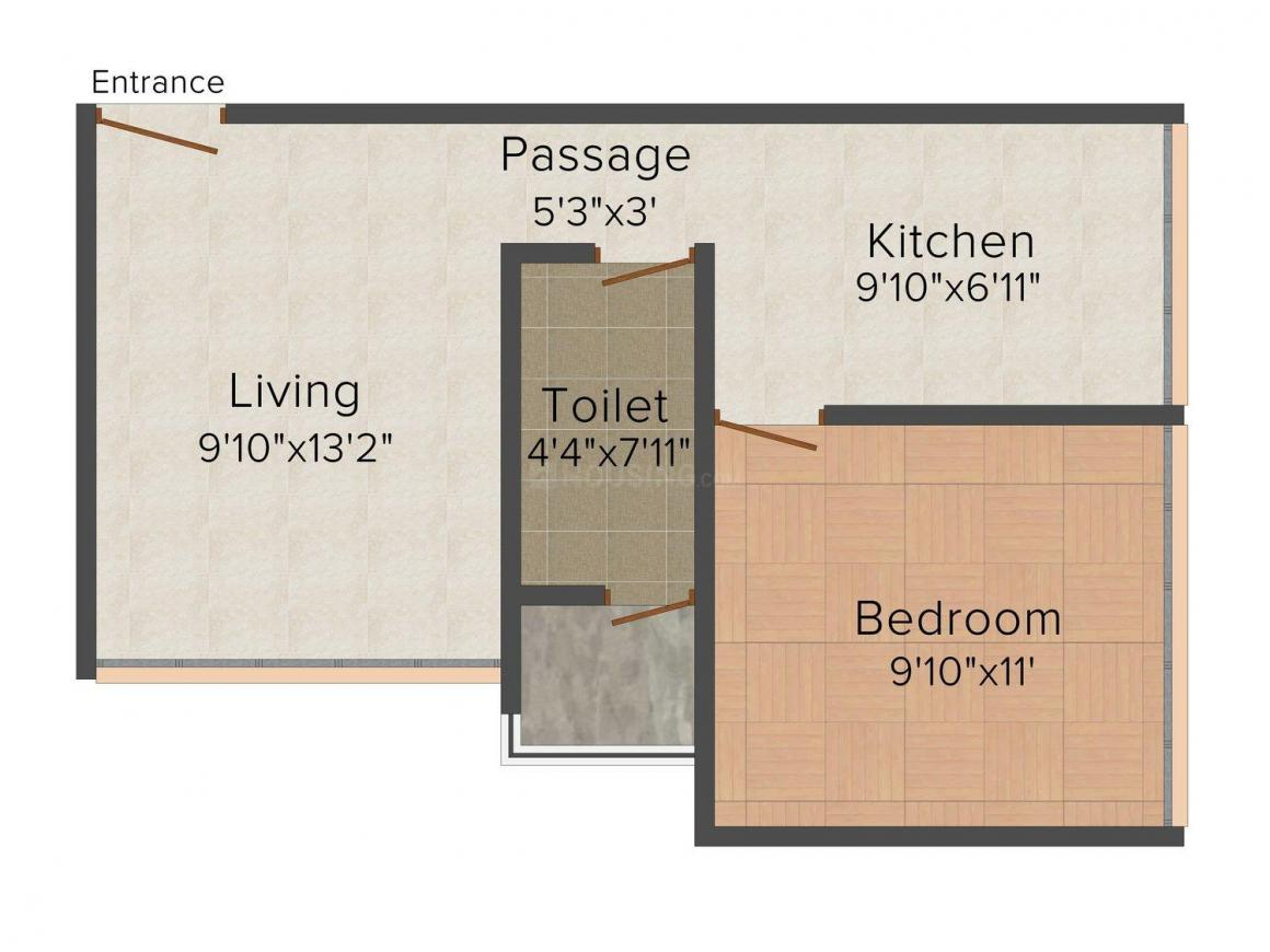 Floor Plan Image of 695 - 1252 Sq.ft 1 BHK Apartment for buy in K. Bhatia Rajal Classic