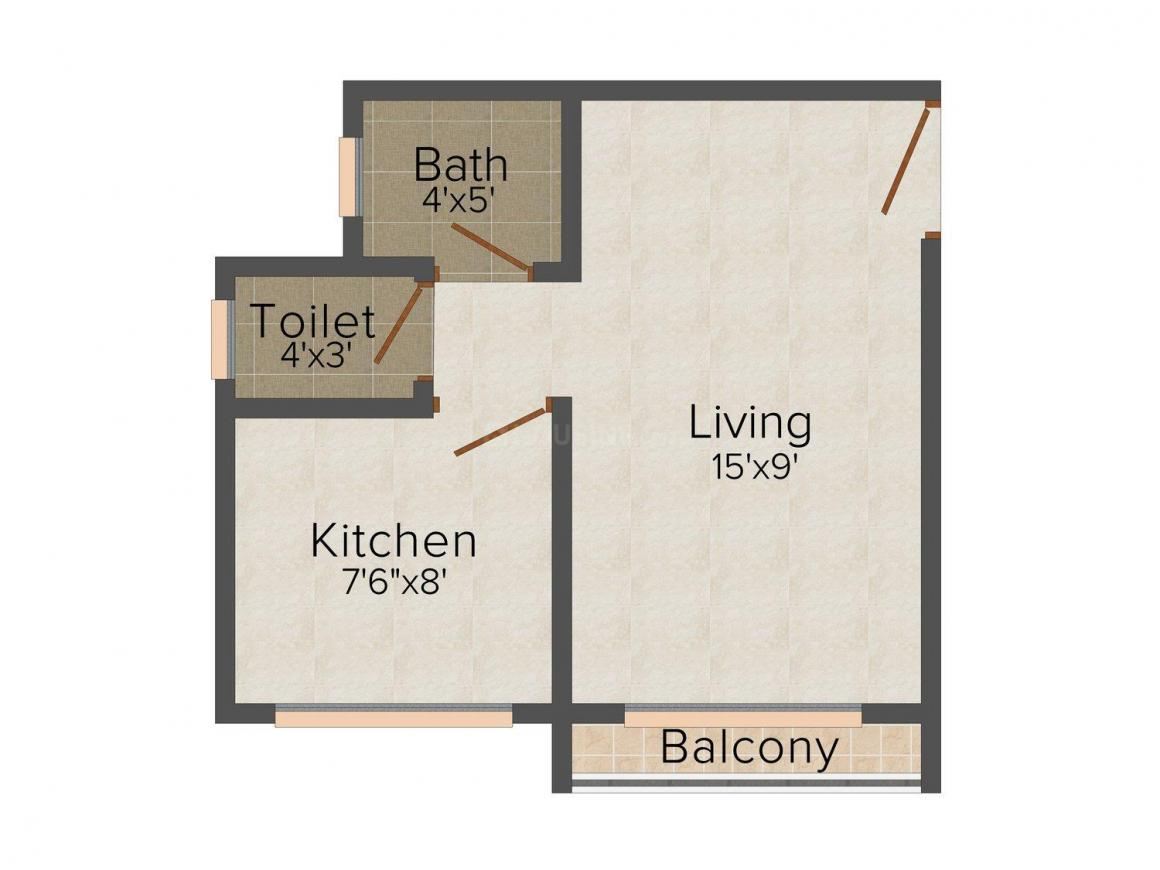Amber Mitra Apartment Floor Plan: 1 BHK Unit with Built up area of 395 sq.ft 1