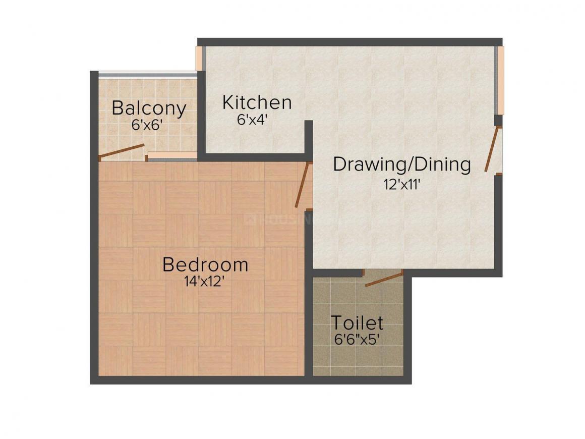 Deepak Home Floor Plan: 1 BHK Unit with Built up area of 585 sq.ft 1