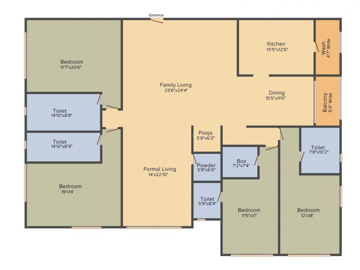 Floor Plan Image of 4567.0 - 7287.0 Sq.ft 4 BHK Apartment for buy in Prudent Two Janki Shah