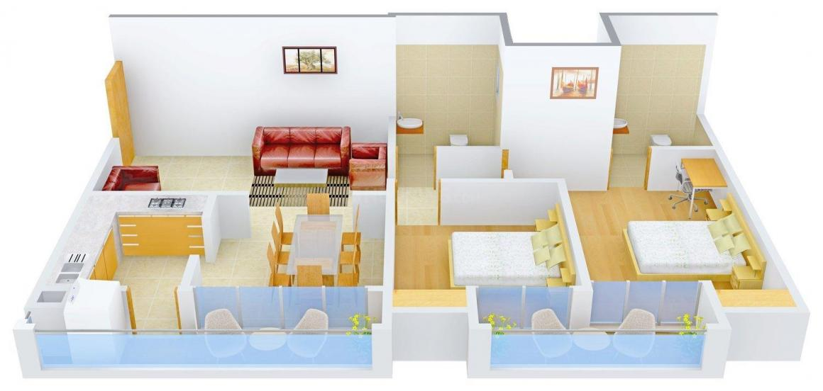 Floor Plan Image of 1015.0 - 1220.0 Sq.ft 2 BHK Apartment for buy in HK Sunshine Royal Palace