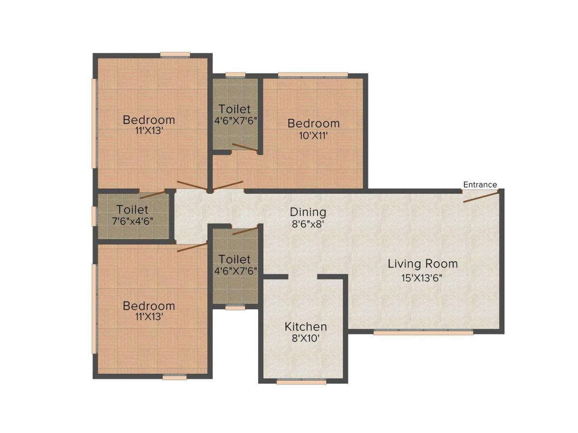 Floor Plan Image of 773.0 - 786.0 Sq.ft 3 BHK Apartment for buy in Shamik's Altura