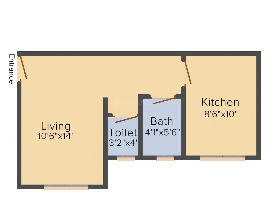 Floor Plan Image of 425.0 - 700.0 Sq.ft 1 RK Apartment for buy in Sweet Home Sadanand Dreams