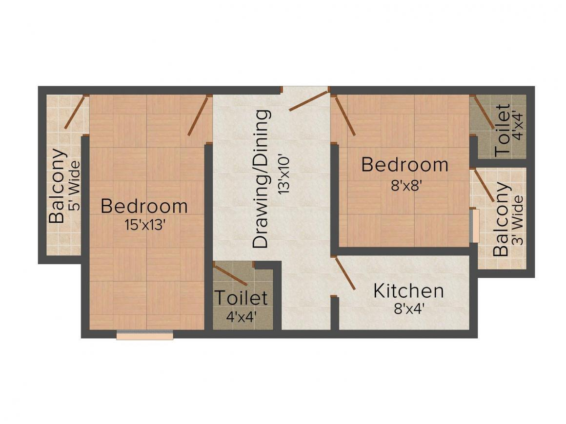Manglam Apartment - 3 Floor Plan: 2 BHK Unit with Built up area of 646 sq.ft 1