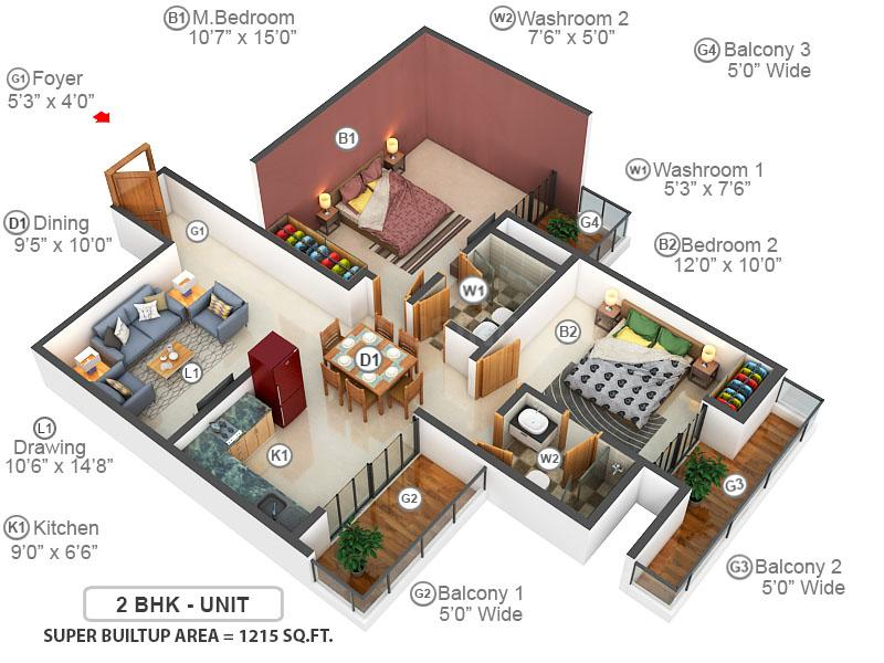Elite Golf Greens Floor Plan: 2 BHK Unit with Built up area of 1215 sq.ft 1