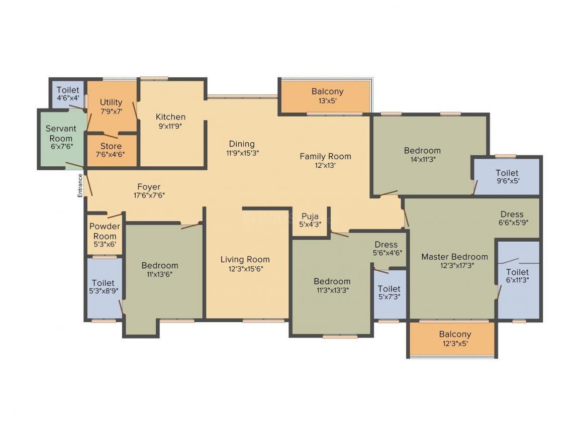 Adani Shantigram LA Marina Floor Plan: 4 BHK Unit with Built up area of 3220 sq.ft 1