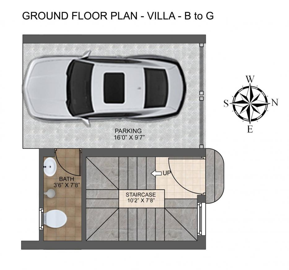 MGP Dwelling Floor Plan: 3 BHK Unit with Built up area of 1456 sq.ft 1