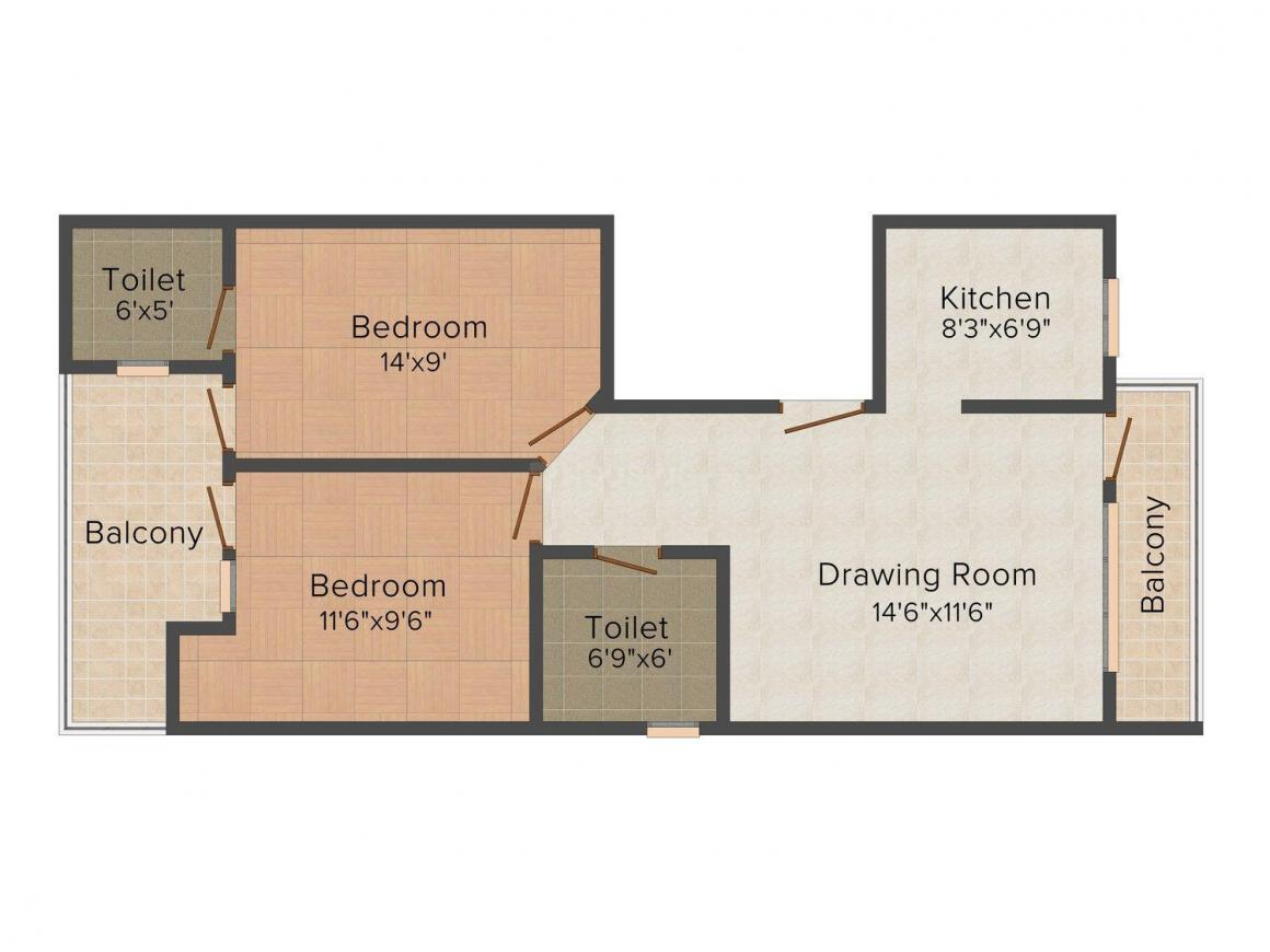 Floor Plan Image of 0 - 810.0 Sq.ft 2 BHK Apartment for buy in VP Homes 18