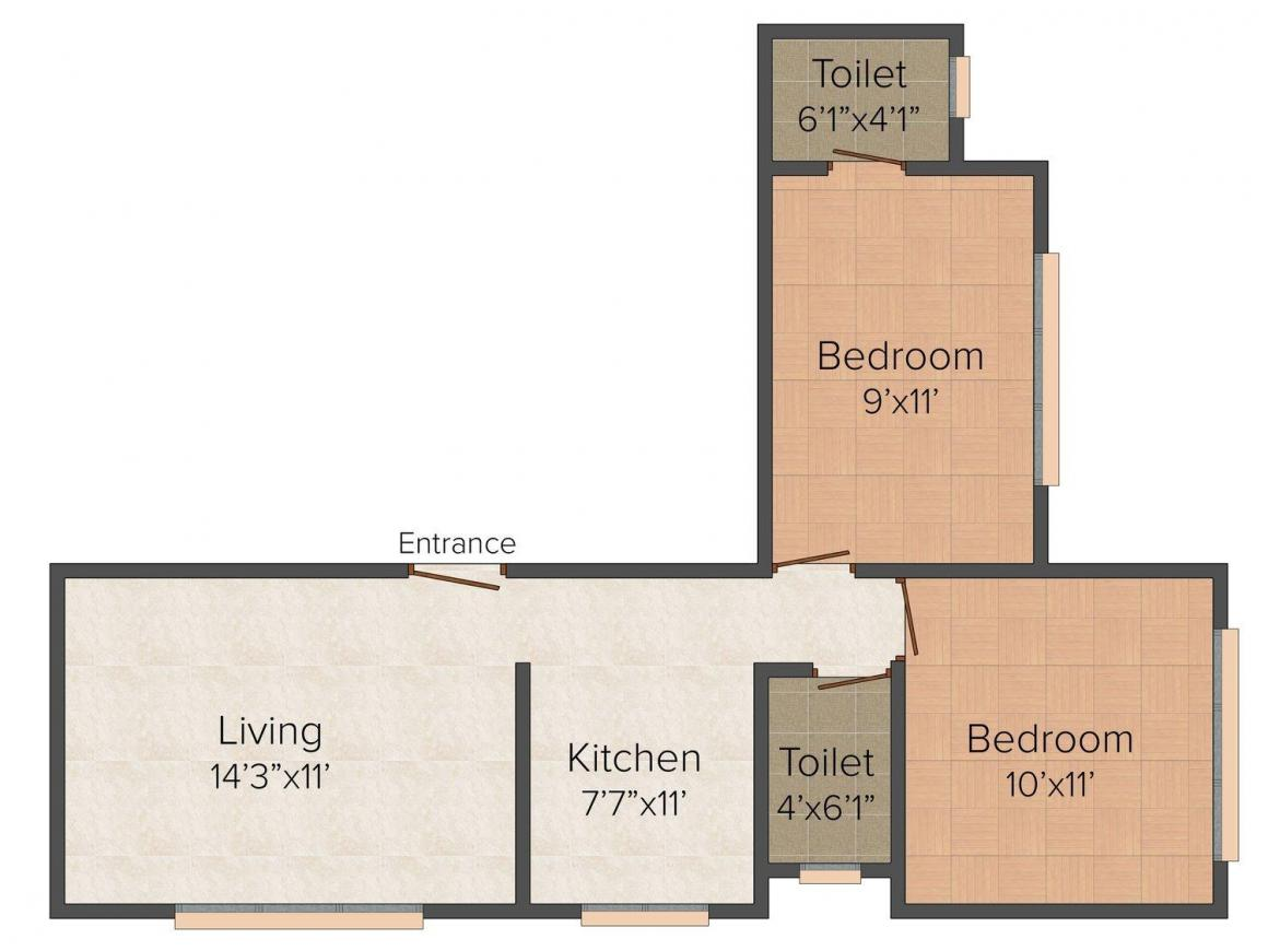 Floor Plan Image of 530.0 - 575.0 Sq.ft 2 BHK Apartment for buy in KT Sai Vishal
