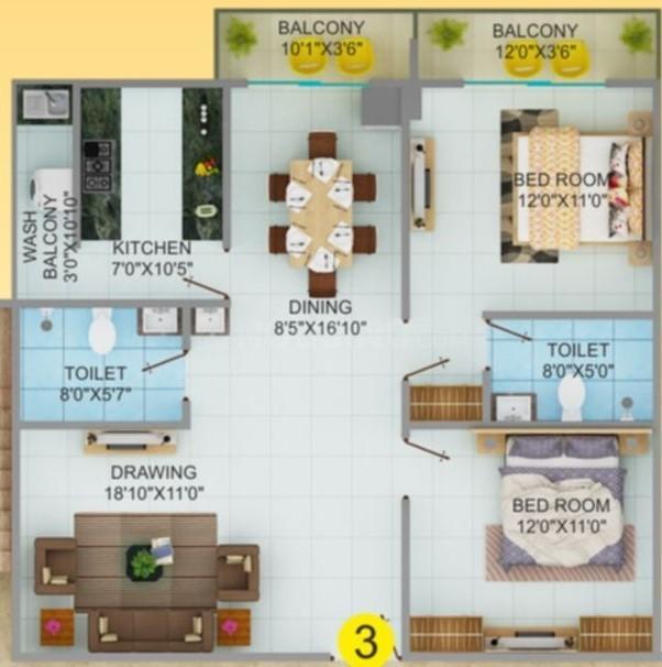 Jaisri Shyam Kamla Vihar Floor Plan: 2 BHK Unit with Built up area of 838 sq.ft 1