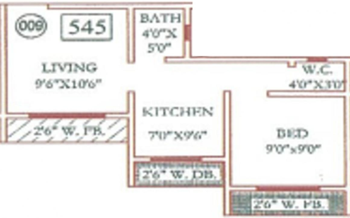 Trimurti Lakeview Apartment Floor Plan: 1 BHK Unit with Built up area of 545 sq.ft 1