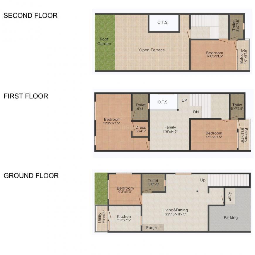 Floor Plan Image of 1827 - 2400 Sq.ft 4 BHK Villa for buy in Kalyani Ahaan