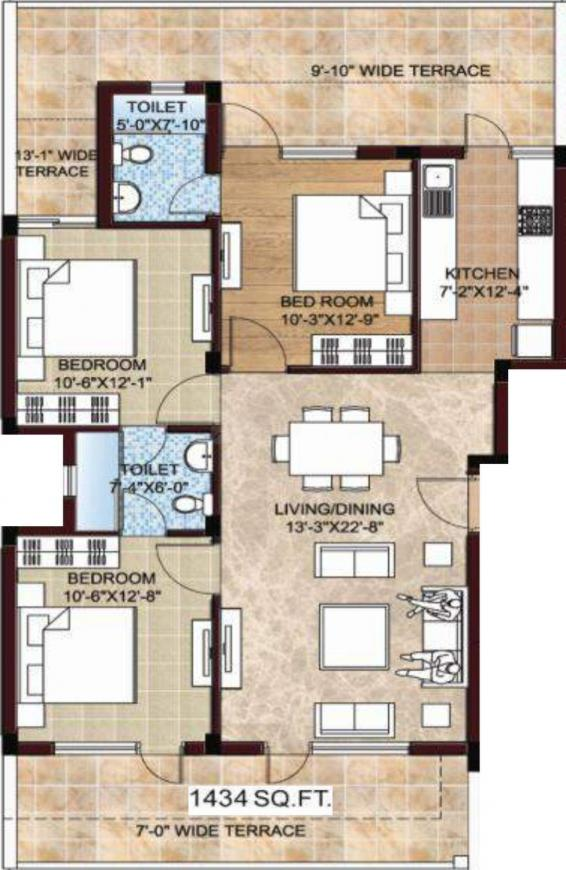 Omaxe Celestia Royal Floor Plan: 3 BHK Unit with Built up area of 1434 sq.ft 1