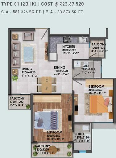 Signature Global Global Proxima II Floor Plan: 2 BHK Unit with Built up area of 581 sq.ft 1