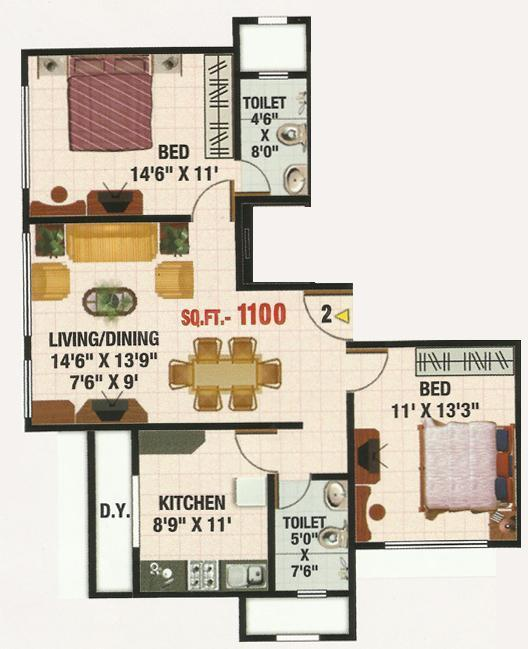 Sadguru Manju Castle Floor Plan: 2 BHK Unit with Built up area of 1100 sq.ft 1