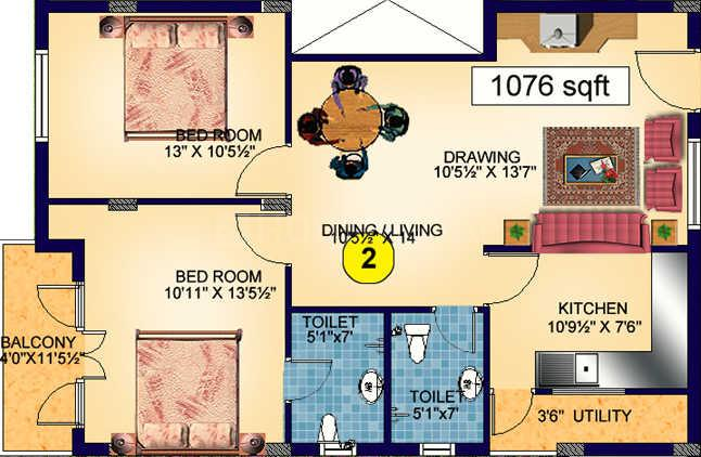 Star Homes Starlite Pavilion Floor Plan: 2 BHK Unit with Built up area of 1076 sq.ft 1