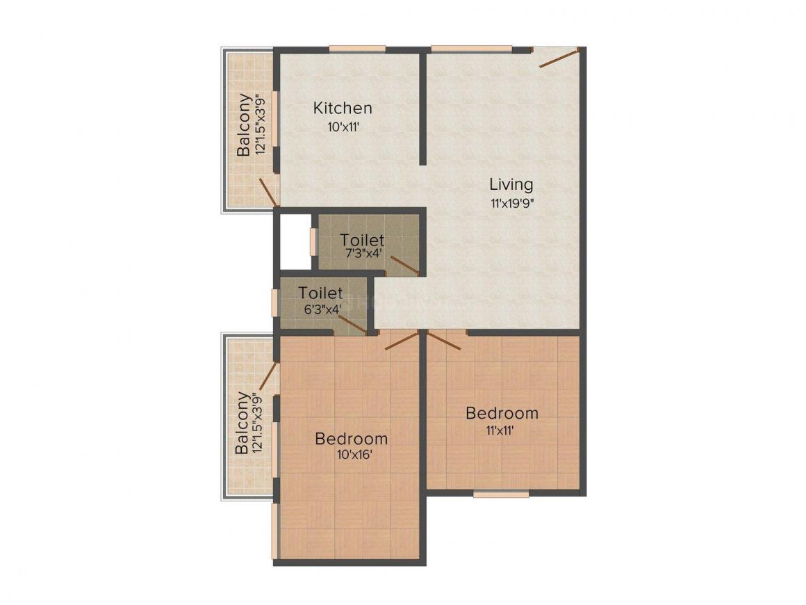 Ruby Flamingo Floor Plan: 2 BHK Unit with Built up area of 984 sq.ft 1