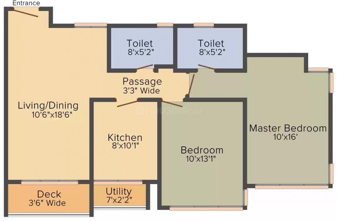 Wadhwa Ivy Floor Plan: 2 BHK Unit with Built up area of 762 sq.ft 2