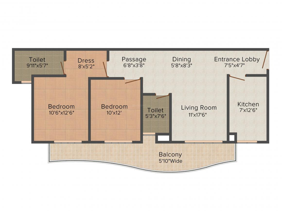 Floor Plan Image of 1360.0 - 3210.0 Sq.ft 2 BHK Apartment for buy in Ansal Heights 86