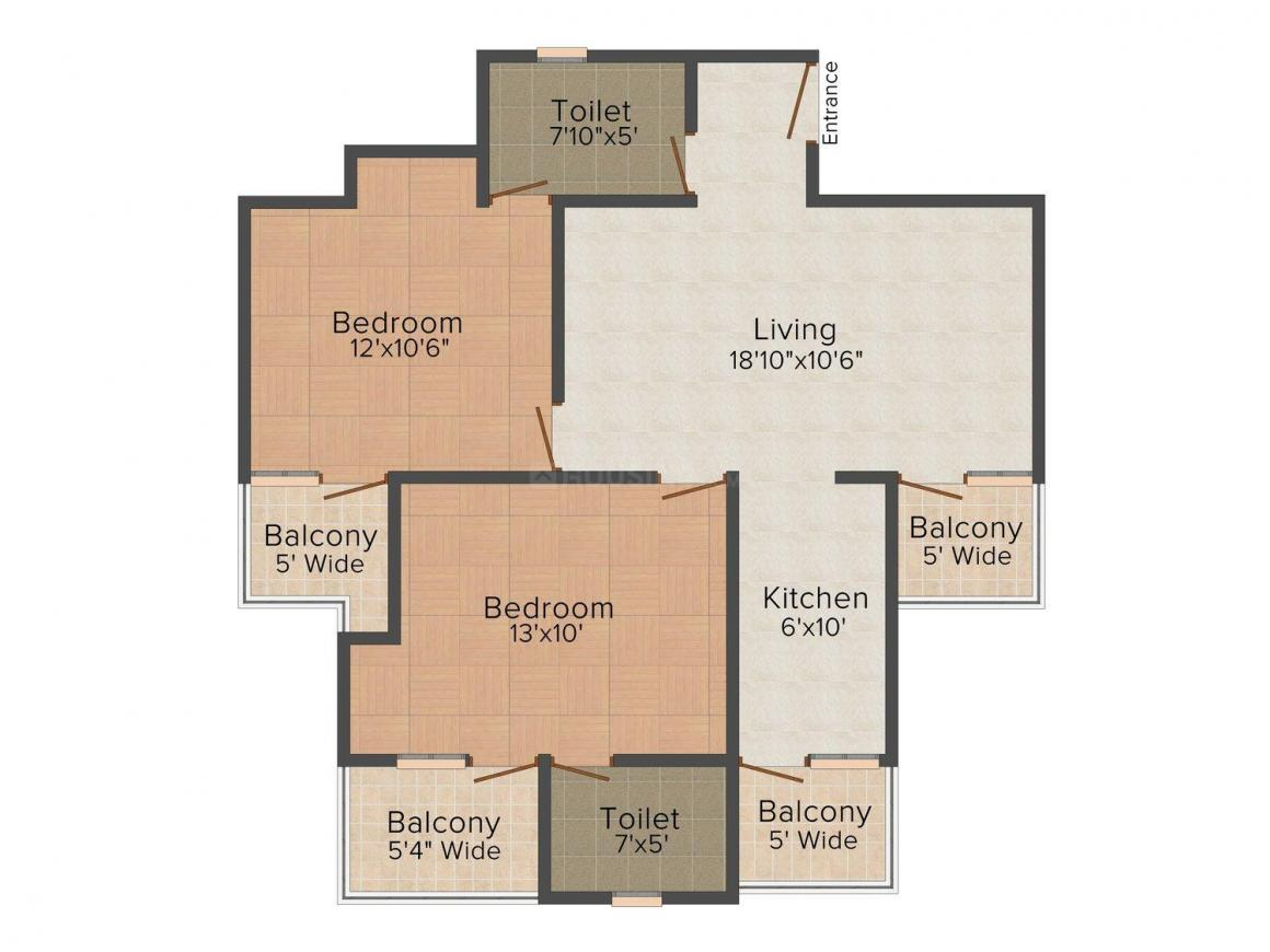 Pathan Homz 12 Floor Plan: 2 BHK Unit with Built up area of 720 sq.ft 1