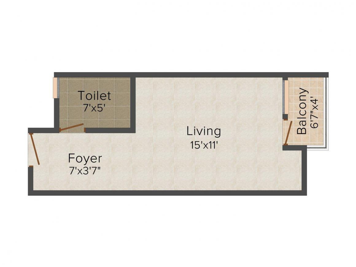 Floor Plan Image of 322 - 1533 Sq.ft 1 BHK Studio Apartment for buy in Unique Joy