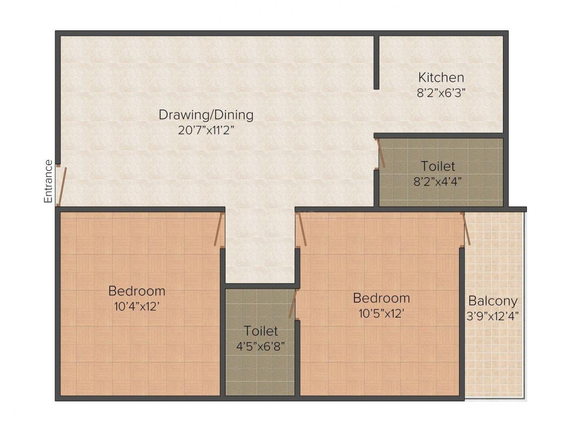 Winsome Group Winsome Orchid Empire Floor Plan: 2 BHK Unit with Built up area of 904 sq.ft 2