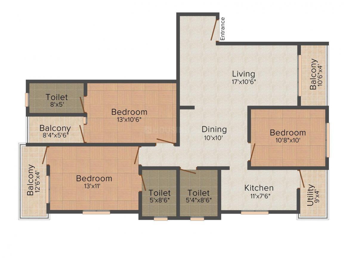 Floor Plan Image of 1075.0 - 1560.0 Sq.ft 2 BHK Apartment for buy in CMRS Phoenix Boulevard
