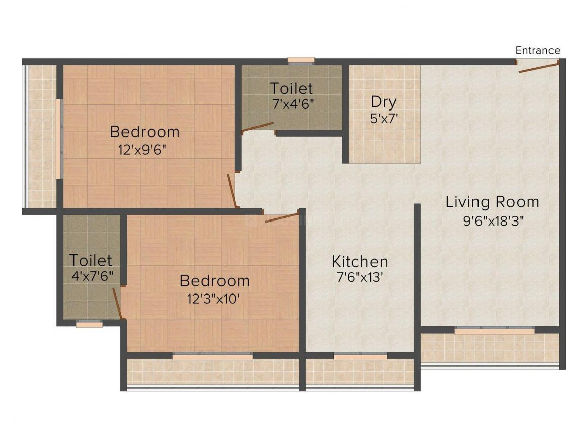 Floor Plan Image of 735.0 - 1460.0 Sq.ft 1 BHK Apartment for buy in Global Heights Building No 2