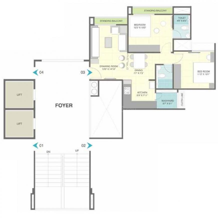 HN Marigold Floor Plan: 2 BHK Unit with Built up area of 1076 sq.ft 1