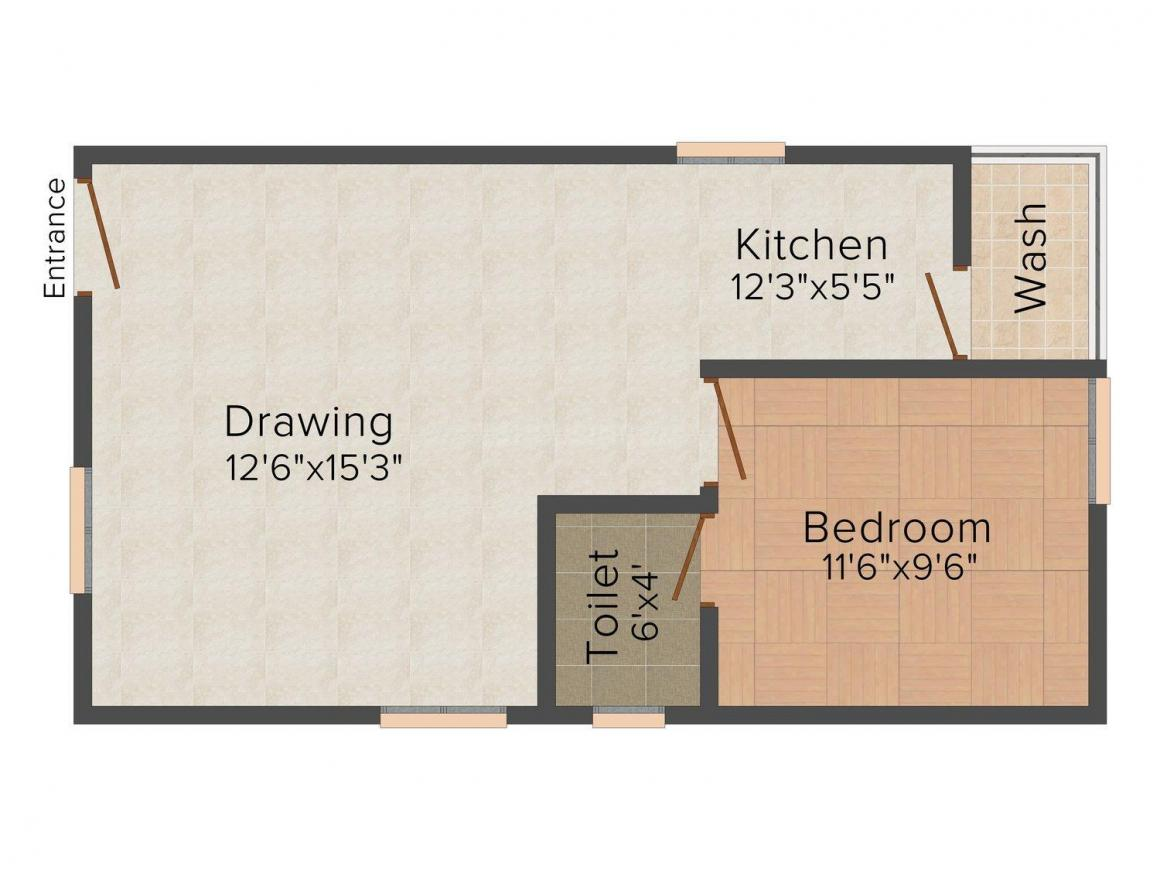 Indumani Krishna Chaitanya Towers Floor Plan: 1 BHK Unit with Built up area of 600 sq.ft 1