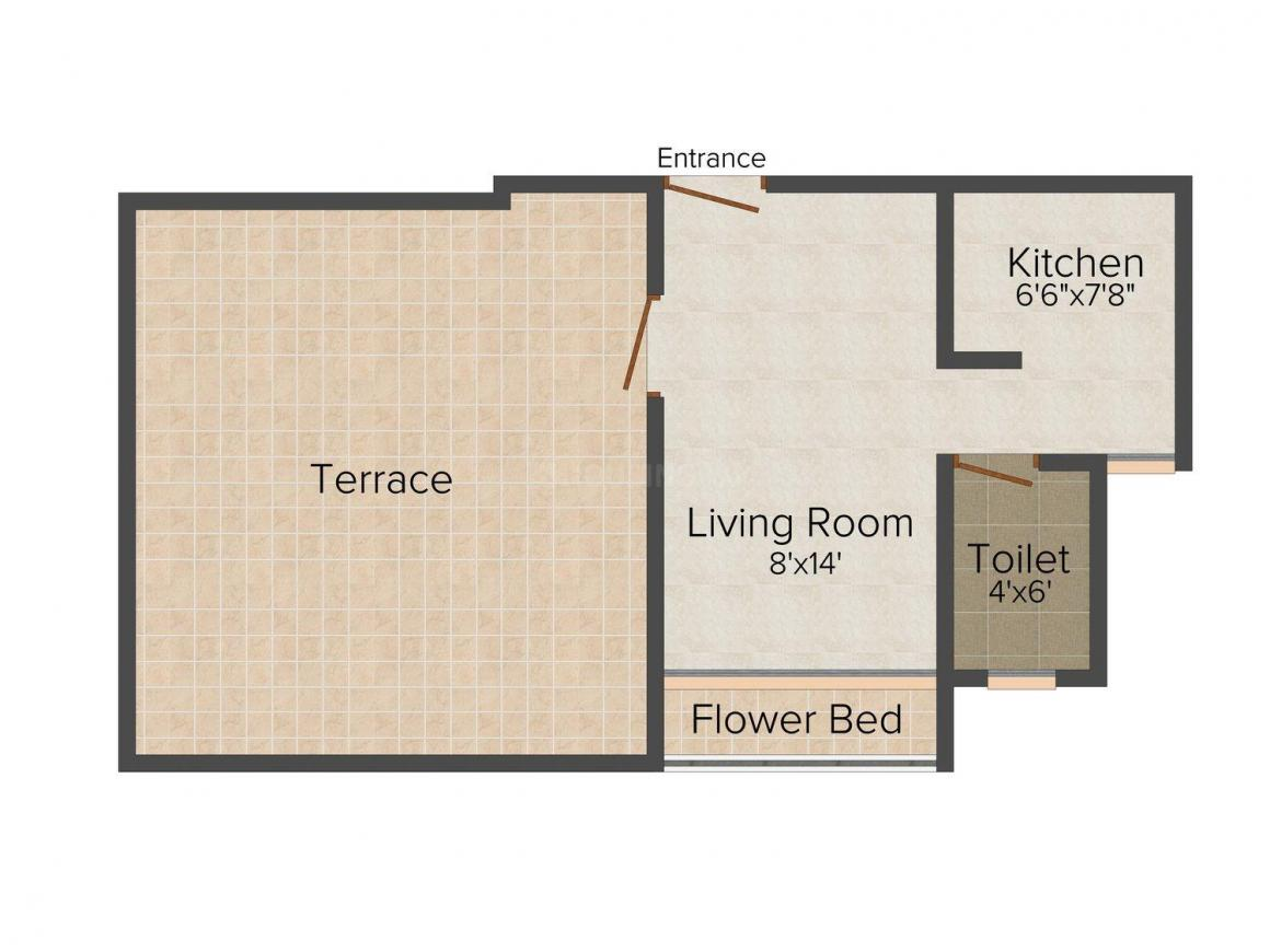 Floor Plan Image of 0 - 390 Sq.ft 1 RK Apartment for buy in Maa Raghav