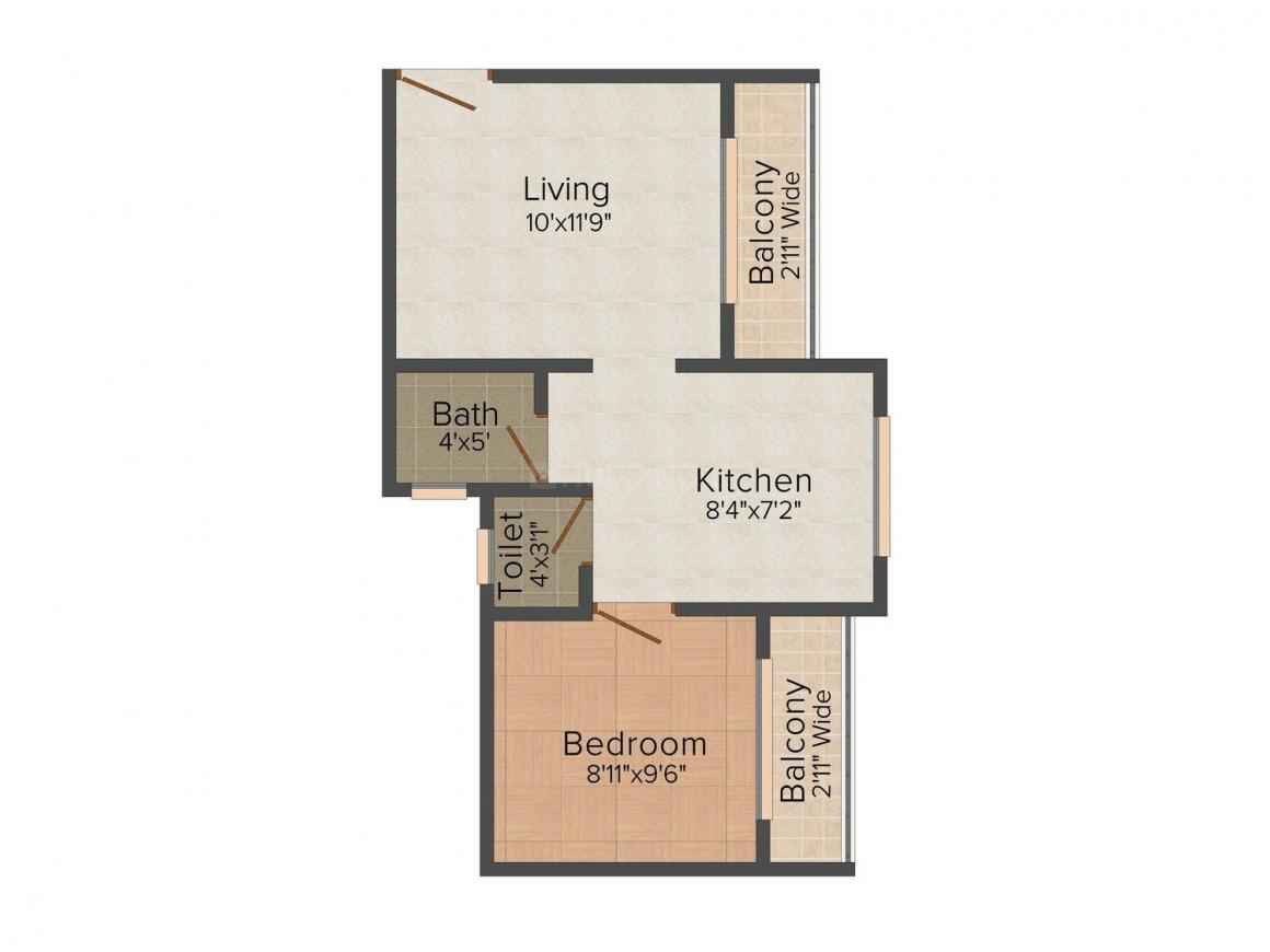Floor Plan Image of 0 - 575 Sq.ft 1 BHK Apartment for buy in Treasure Nisarg Residency