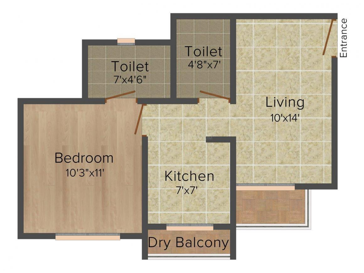 Floor Plan Image of 747.0 - 1050.0 Sq.ft 1 BHK Apartment for buy in Ravi Gaurav Sarjan