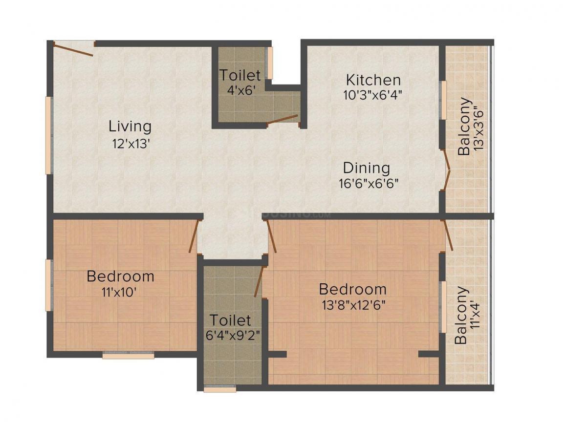 Floor Plan Image of 0 - 1113 Sq.ft 2 BHK Apartment for buy in Sri Sai Nivas