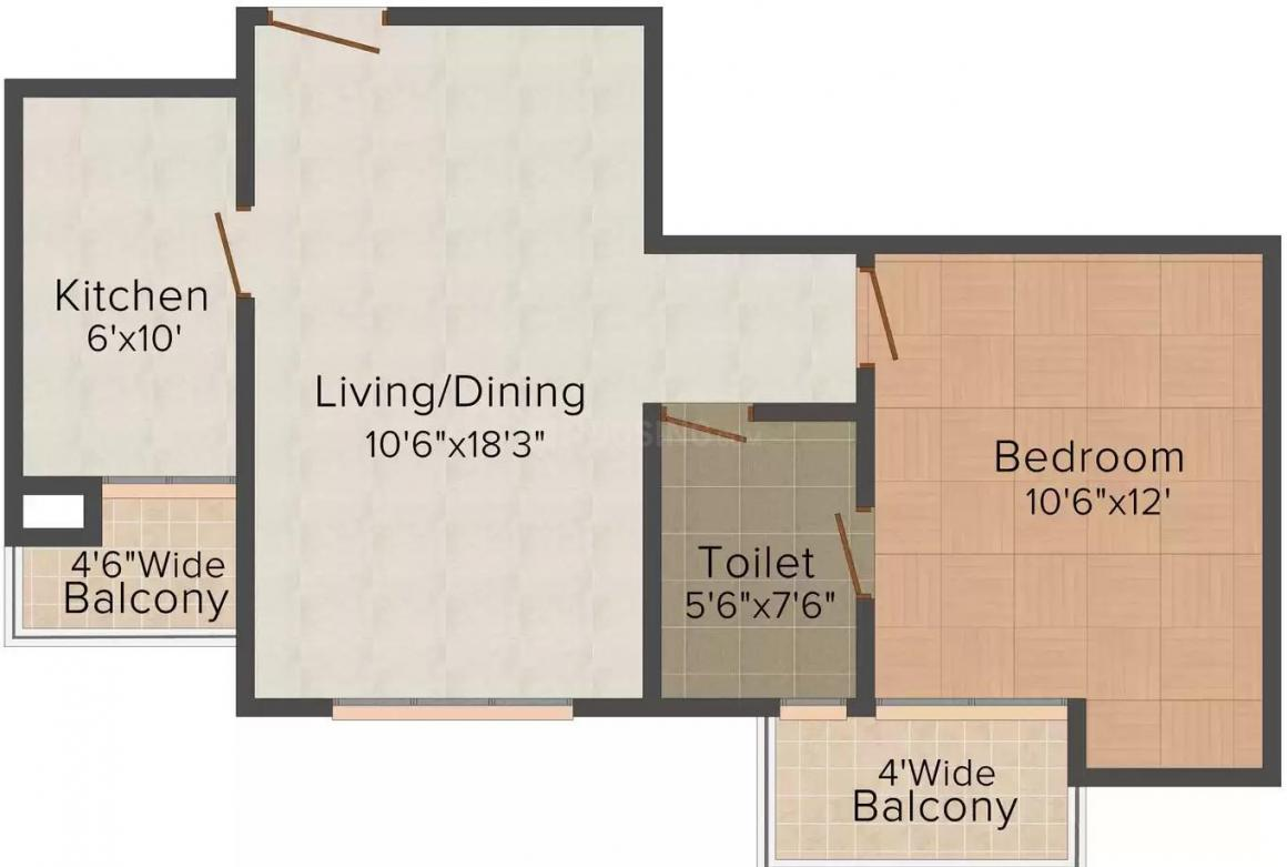 Pushpanjali Imperial Heights Floor Plan: 1 BHK Unit with Built up area of 725 sq.ft 1