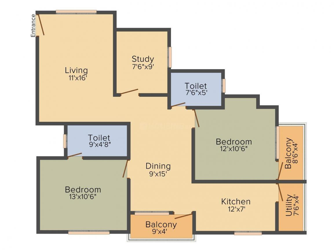 Suncrest Nandanam Residency Floor Plan: 2 BHK Unit with Built up area of 1070 sq.ft 1