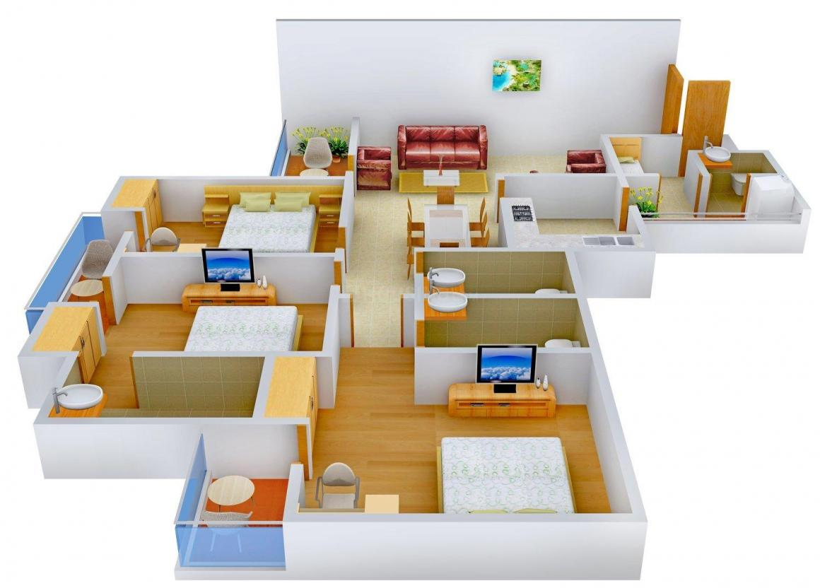 Floor Plan Image of 0 - 1935.0 Sq.ft 3 BHK Independent Floor for buy in Chowdhary Floors 2
