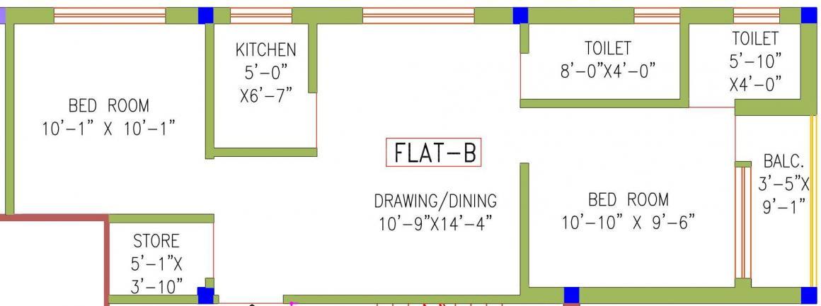 Lakshmi Nivas Floor Plan: 2 BHK Unit with Built up area of 877 sq.ft 1