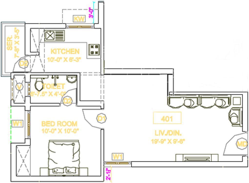 Arthvedastar Pranav Navarathna Floor Plan: 1 BHK Unit with Built up area of 431 sq.ft 1
