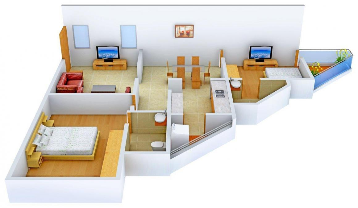 Floor Plan Image of 1200.0 - 1245.0 Sq.ft 2 BHK Apartment for buy in ISTA @1