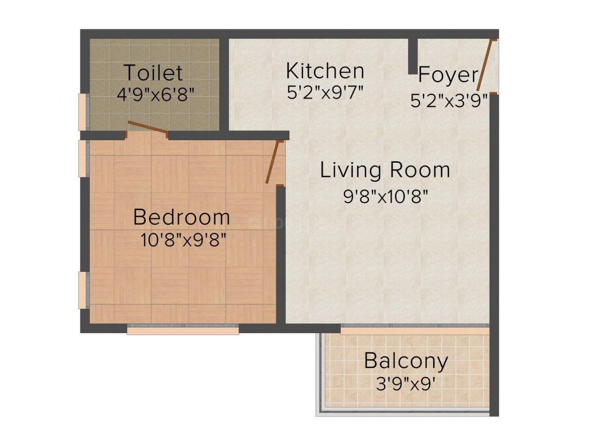 Floor Plan Image of 489 - 1266 Sq.ft 1 BHK Apartment for buy in Sowparnika Vrindavan