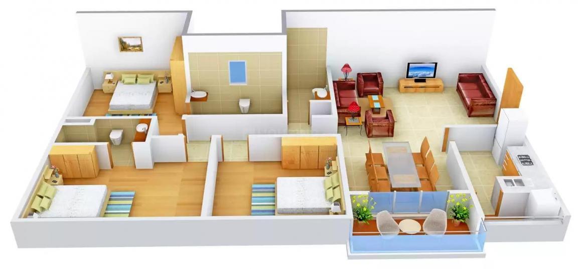 Ankur Sukriti Floor Plan: 3 BHK Unit with Built up area of 1741 sq.ft 1