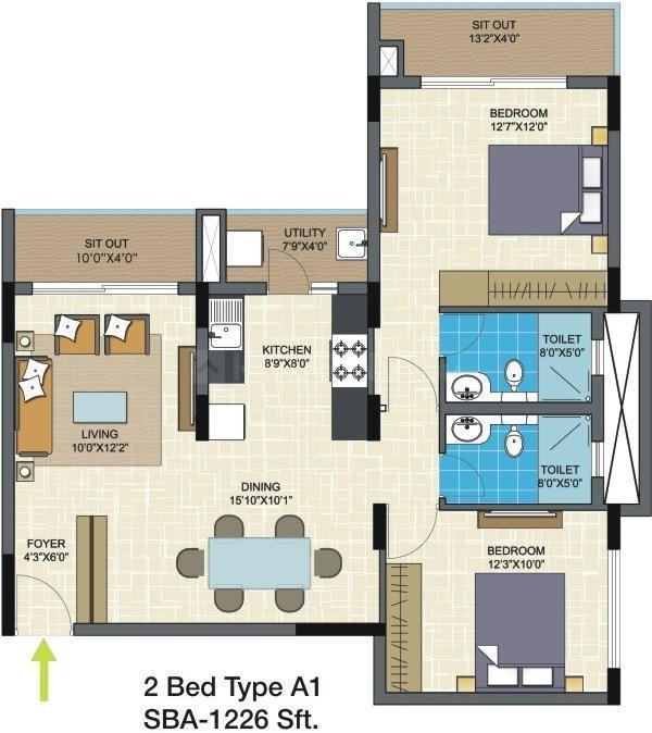 Nitesh Columbus Square Floor Plan: 2 BHK Unit with Built up area of 1226 sq.ft 1