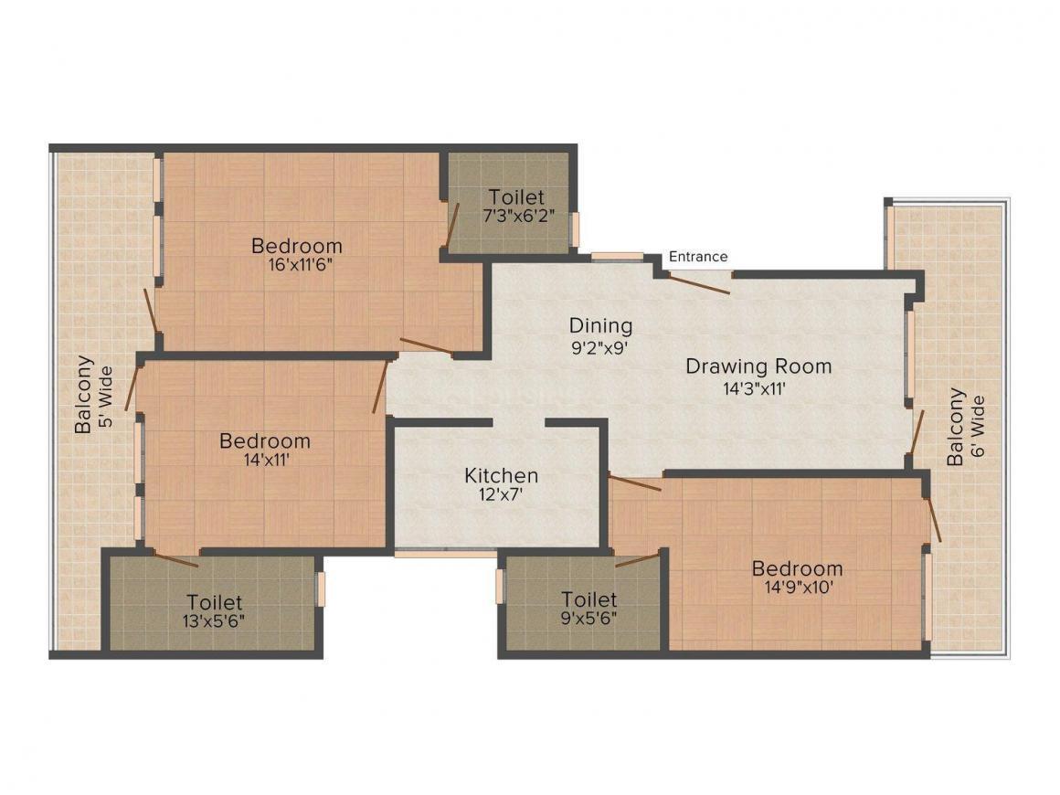 Floor Plan Image of 0 - 1500.0 Sq.ft 3 BHK Independent Floor for buy in Goldmine Homes 1