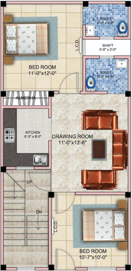 Jak Green Villa Floor Plan: 2 BHK Unit with Built up area of 666 sq.ft 1